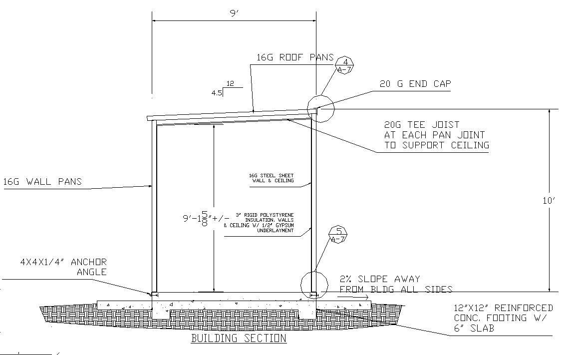 Steel pan building section jpg for Steel building plans drawings